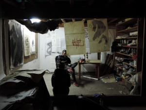 The 'wet' (paint, etc) space at night-time